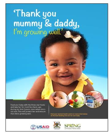 Photo of poster featuring a smiling, healthy young child. Caption: