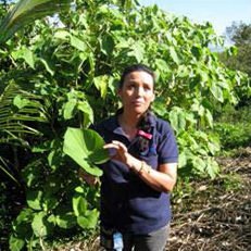Photo of a young person holding a large leaf with trees in the background